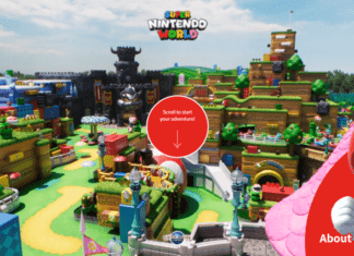 Screenshot of Super Nintendo World website