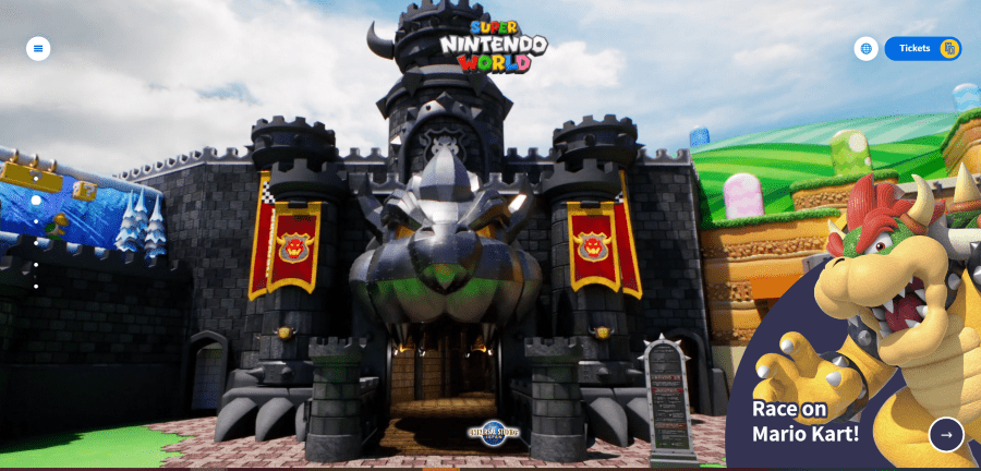 screenshot of exterior of Bowsers Castle in Super Nintendo World