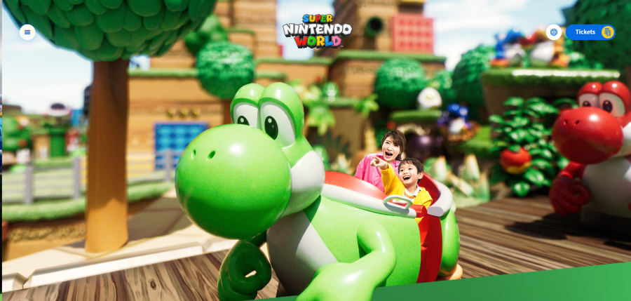 Screenshot of Yoshi's ride vehicle from Super Nintendo World website
