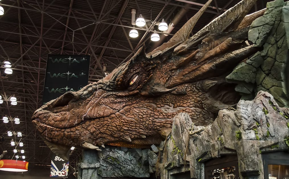 weta workshop dragon at comic con greg larro