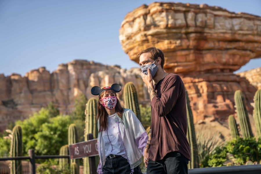 Couple at Disneyland in masks
