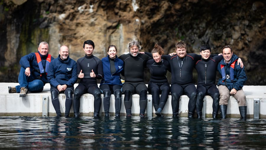 John Bishop & SEA LIFE Trust team at beluga sanctuary
