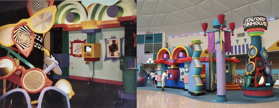 Sensory funhouse mockup and the built project at EPCOT, 1989