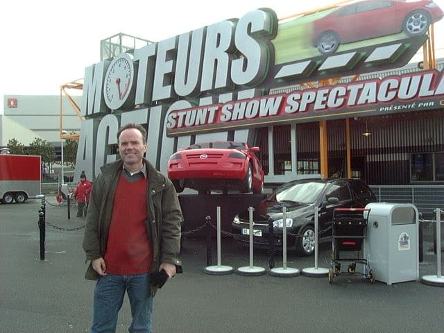Steve Tatham In front of the stunt show marquee, Walt Disney Studios Paris 2002