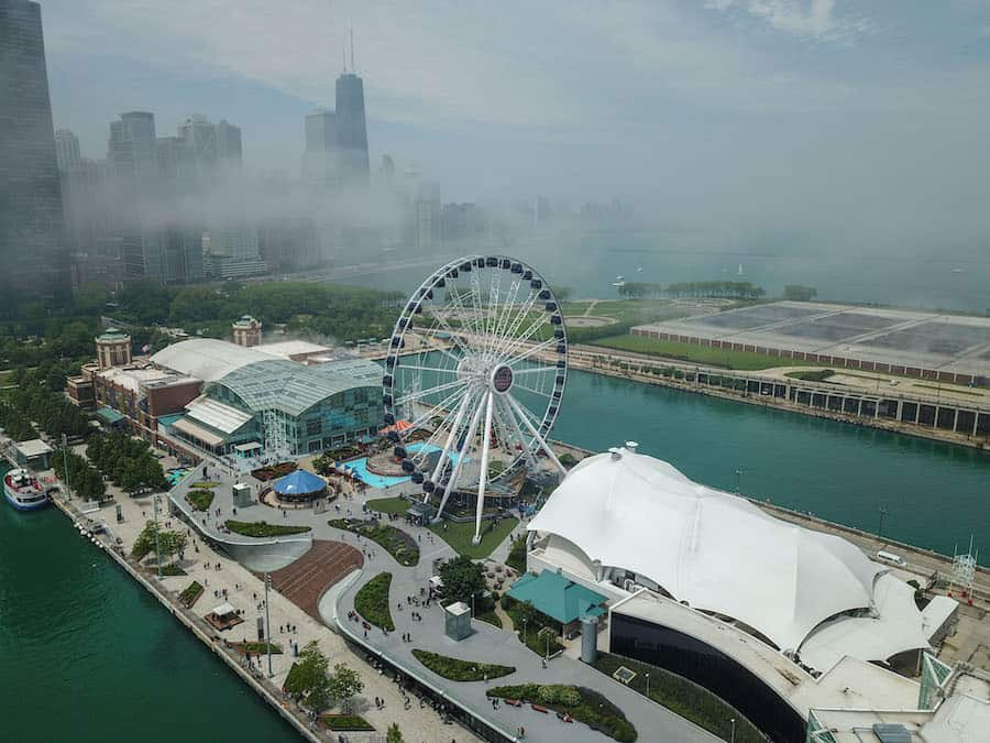 The Centennial Wheel at Navy Pier in Chicago, the city where the Ferris wheel was born