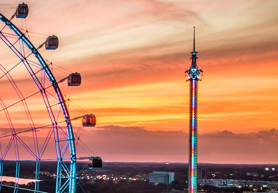 The Wheel and StarFlyer light up the sky at ICON Park, Orlando observation wheels
