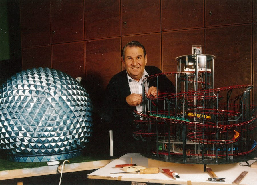 Mack with his model of the Eurosat rollercoaster