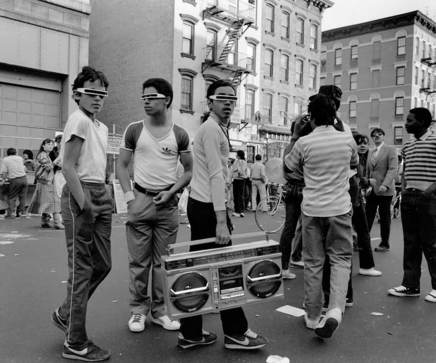 Morris Engle Boys with Boom Box, 14th Street, 1983 Gelatin silver print MCNY