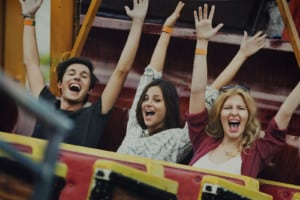Young-people-on-rollercoaster