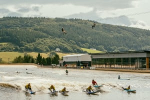 Zip over surfers on man-made waves in North Wales