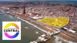 Blackpool Central aerial view with logo