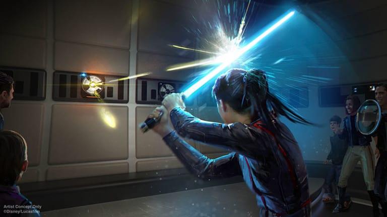 disney Star Wars galactic starcruiser light sabre fight
