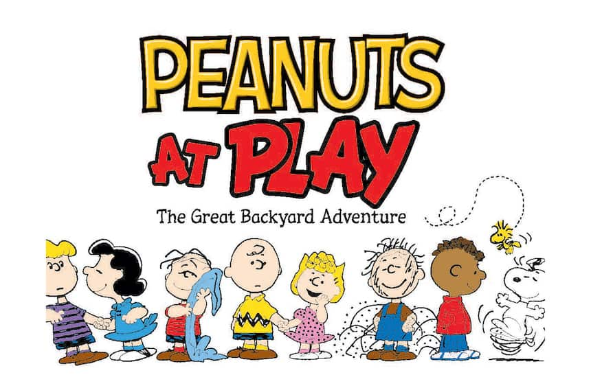 """Cartoon children with title """"Peanuts at Play: The Great Backyard Adventure"""""""
