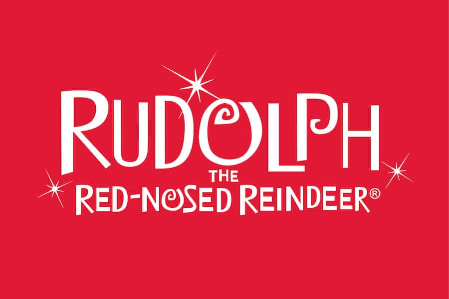 """Red """"Rudolph the Red-Nosed Reindeer"""" logo"""