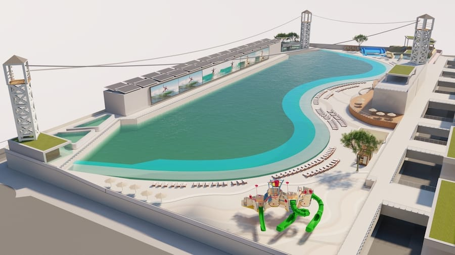 Architectural rendering of Surftown wave pool