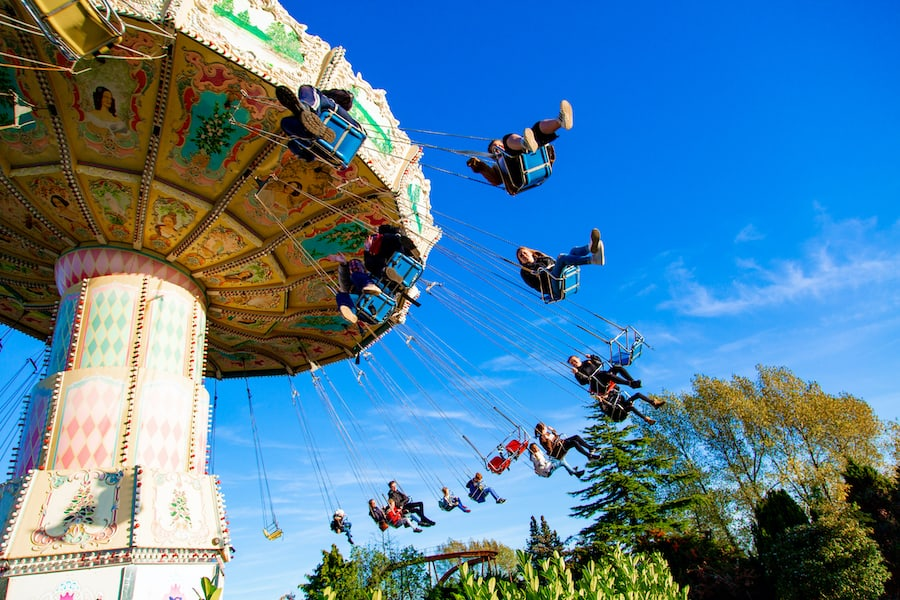 Swing Ride at Pleasurewood Hills which uses the Convious platform