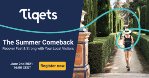"""Tiquets Conference """"The Summer Comeback"""" text with woman walking through a garden"""