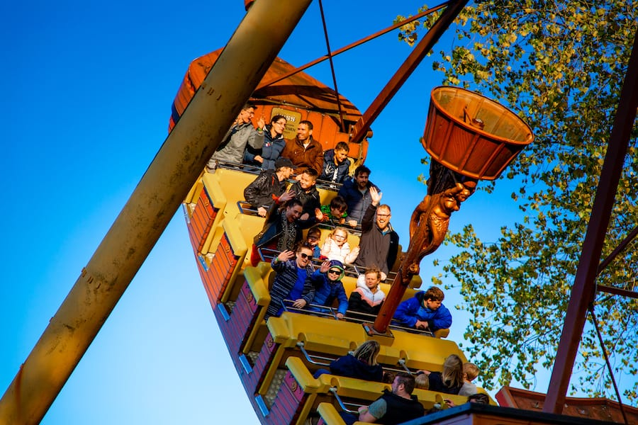 pirate ship ride at Pleasurewood Hills, which uses the Convious platform