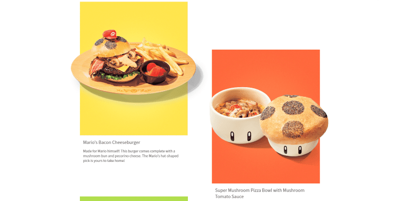 Pictures of food available at Super Nintendo World