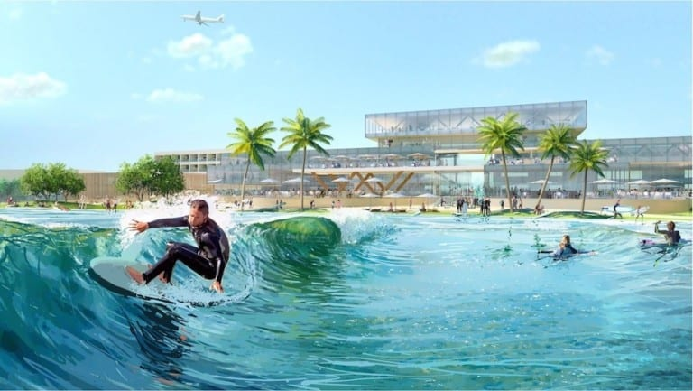 Rendering of Surftown wave pool featuring surfer