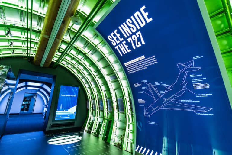 MSI Chicago exhibit - hallway with 727 blueprint