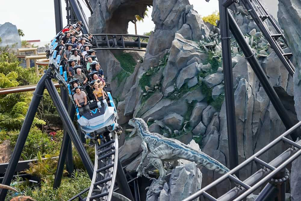 Guests riding on the VelociCoaster at Universal Studio's Island of Adventure