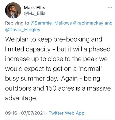 Mark Ellis tweets COVID restrictions Visitor attraction COVID guidance