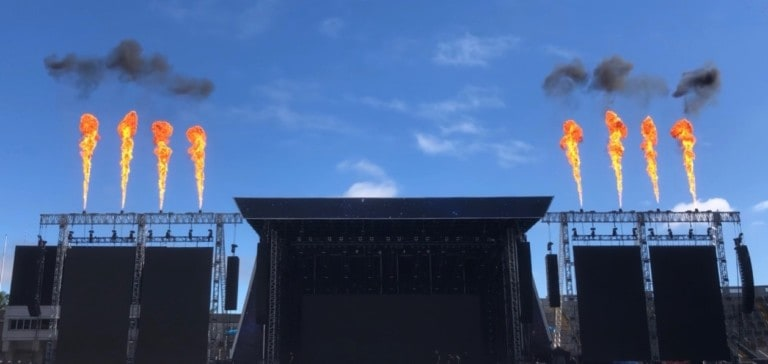 Flame systems testing in Ireland for Westlife European Tour