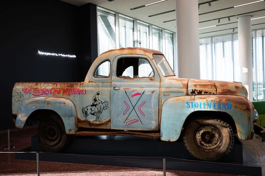 We worked for rations, graphics & Stolen Land (a salvaged 1954 International AR 110 Truck, re-worked by Reko Rennie