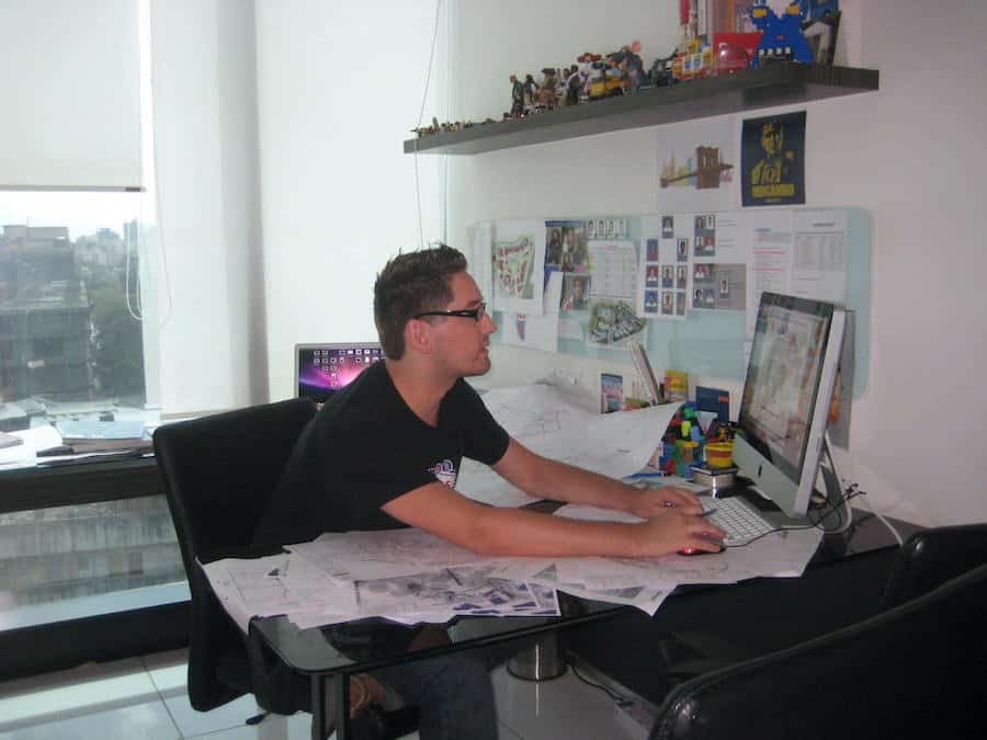 Chris Lange in his office in India durng the design of Adlabs Imagica